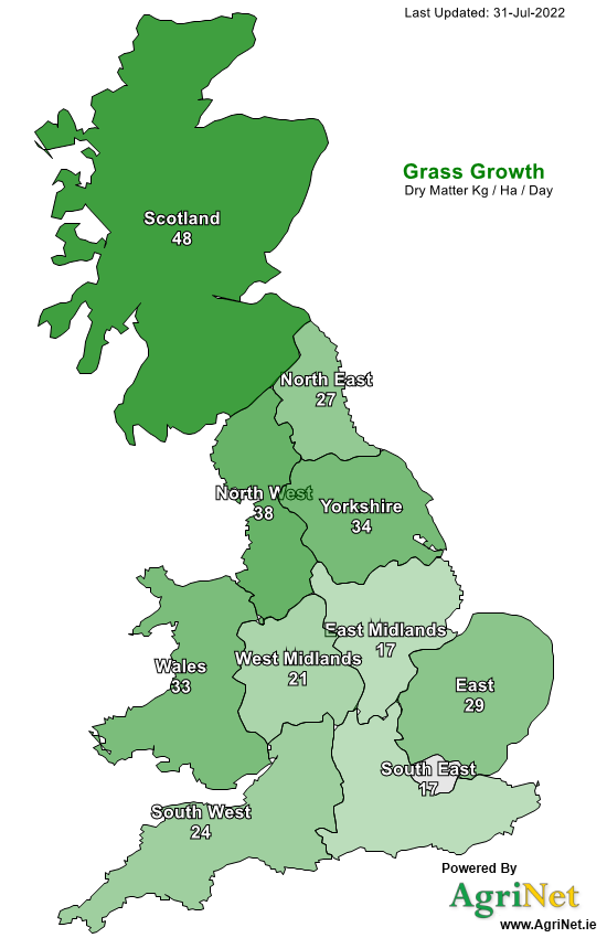 United Kingdom Grass Growth Map